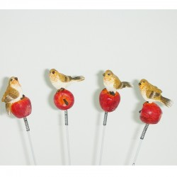 4 birds on sticks