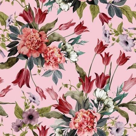 Diner napkins Flower red